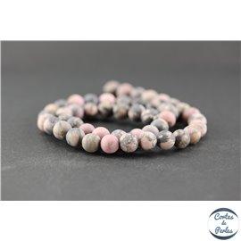Perles dépolies en rhodonite - Ronde/8 mm