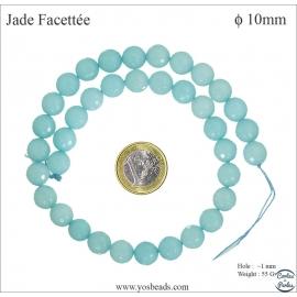 Perles semi précieuses en marbre - Rondes/8 mm - Bleu des îles