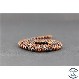 Perles facettées en obsidienne acajou - Ronde/4 mm