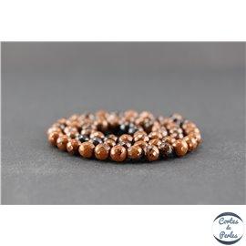 Perles facettées en obsidienne acajou - Ronde/6 mm