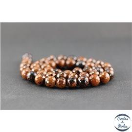 Perles facettées en obsidienne acajou - Ronde/8 mm