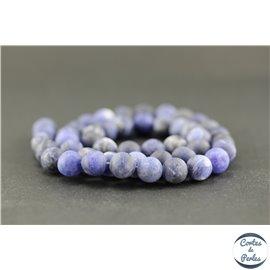 Perles dépolies en sodalite - Ronde/8 mm - Grade A