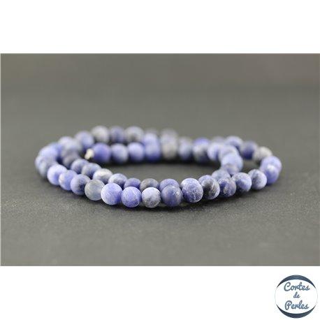 Perles dépolies en sodalite - Ronde/6 mm - Grade A