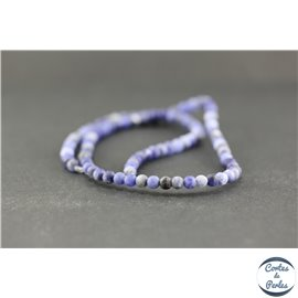 Perles dépolies en sodalite - Ronde/4 mm - Grade A