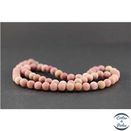 Perles dépolies en rhodonite - Ronde/6 mm