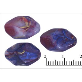 Perles en résine synthétique - Losanges/20 mm - Rose et bleu doré