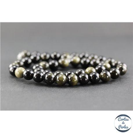 Perles en obsidienne dorée - Ronde/8 mm