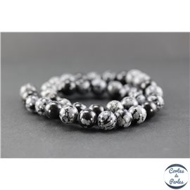 Perles en obsidienne flocon de neige - Ronde/10 mm