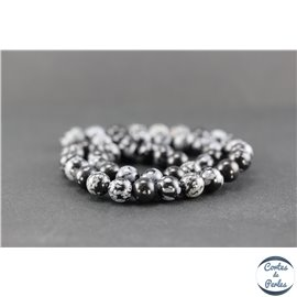 Perles en obsidienne flocon de neige - Rondes/8mm