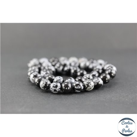 Perles en obsidienne flocon de neige - Ronde/8 mm