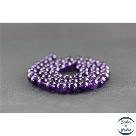 Perles en améthyste - Rondes/8 mm - Améthyste dark - Grade AA+