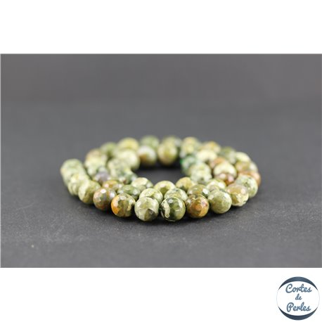 Perles facettées en jaspe rhyolite - Rondes/8 mm