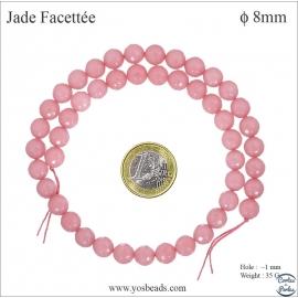 Perles semi précieuses en marbre - Rondes/8 mm - Rose flamant
