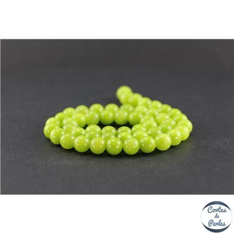 Perles semi précieuses en olive jade - Rondes/8 mm