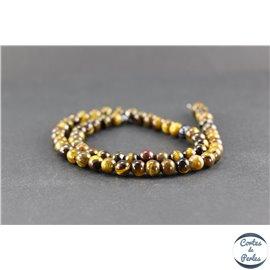 Perles semi précieuses en oeil de tigre coconut - Rondes/6 mm - Grade A