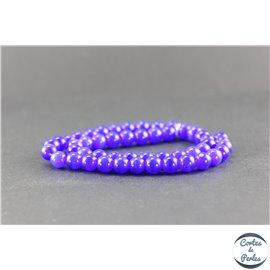 Perles oeil de chat lisses - Rondes/8 mm - Bleu
