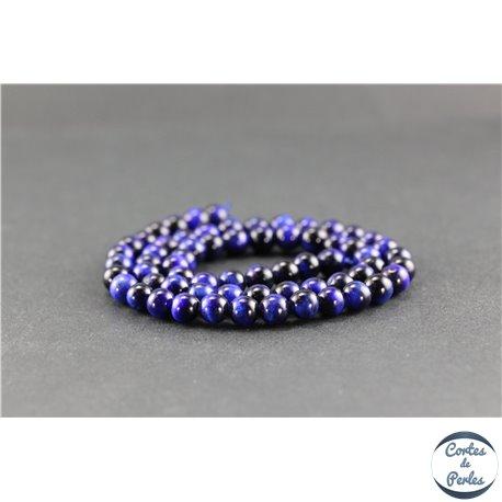 Perles en oeil de tigre bleu roi - Rondes/6 mm - Grade A