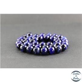 Perles en oeil de tigre bleu roi - Rondes/10 mm - Grade A