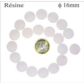 Perles en Résine Synthétique - Ronde/16 mm - Neige