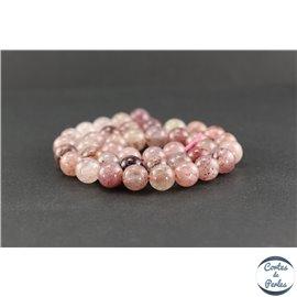 Perles en quartz fraise - Rondes/10 mm