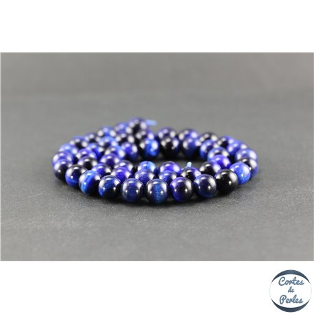 Perles en oeil de tigre bleu roi - Rondes/8 mm - Grade A