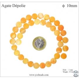 Perles semi précieuses en agate - Rondes/10 mm - Orange dépoli
