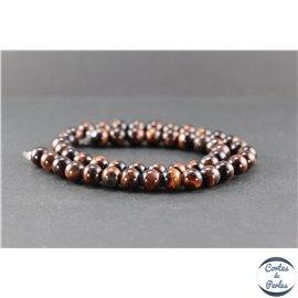 Perles en oeil de taureau - Ronde/8 mm - Grade AB+