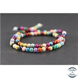 Perles semi précieuses en pierre de fossile - Rondes/4 mm - Multicolore