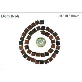 Perles en Bois - Cube/10 mm - Marron