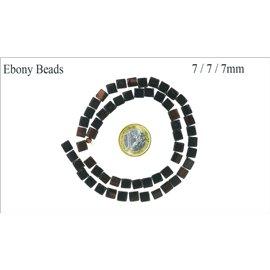 Perles en ébène - Cubes/7 mm