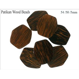 Perles en Bois - Hexagone/54 mm - Marron