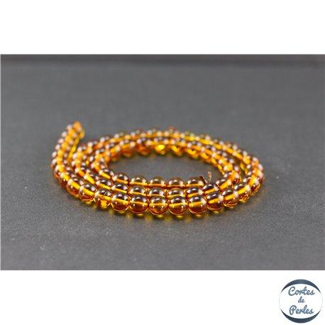 Perles en ambre de la Baltique - Rondes/6 mm - Miel - Grade A