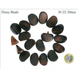 Perles en Bois - Ovale/30 mm - Marron