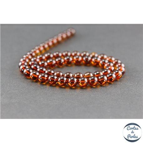 Perles en ambre de la Baltique - Rondes/7 mm - Cognac - Grade A