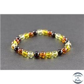 Bracelet de perles mélangées en ambre de la Baltique - Rondes/7mm - Grade A