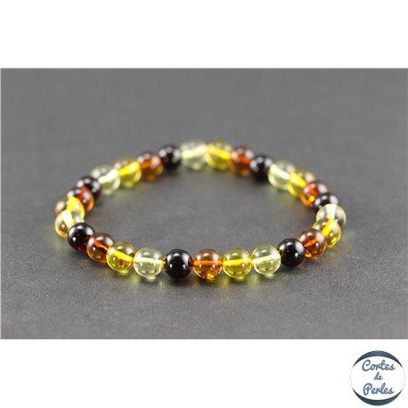 Bracelet de perles mélangées en ambre de la Baltique - Rondes/7 mm - Grade A