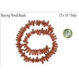Perles en Bois - Triangle/15 mm - Marron