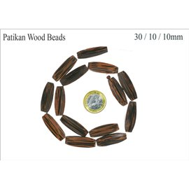 Perles en Bois - Tube/30 mm - Marron