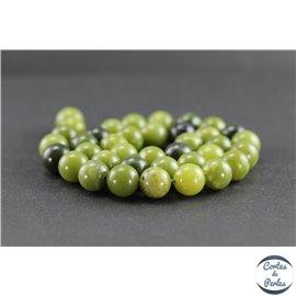 Perles en jade néphrite du Canada - Rondes/10 mm - Grade AB