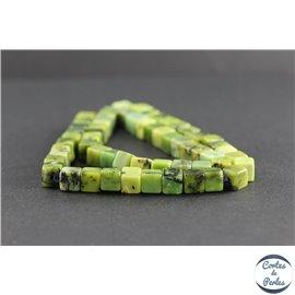 Perles en jaspe vert d'Australie - Cubes/7 mm - Grade AB