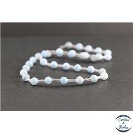 Perles en célestine de Madagascar - Rondes/6mm - Grade AB