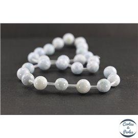 Perles en célestine de Madagascar - Rondes/10 mm - Grade AB