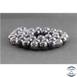 Perles en iolite de Madagascar - Rondes/10 mm - Grade AA