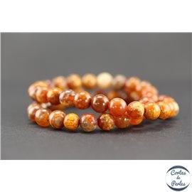 Perles semi précieuses en agate feu - Rondes/8 mm - Grade A
