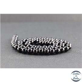 Perles en tourmaline noire de Madagascar - Rondes/6 mm - Grade AB