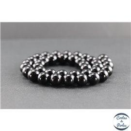 Perles en tourmaline noire de Madagascar - Rondes/10 mm - Grade AB