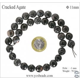 Perles en agate craquelée noire - Rondes/11mm