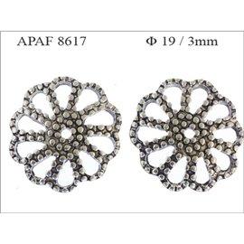Apprêts American Finding Coupelles Vernies - Fleur/19 mm - Argenté