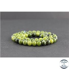 Perles en jade néphrite du Canada - Rondes/6mm - Grade AB