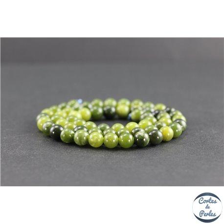 Perles en jade néphrite du Canada - Rondes/6 mm - Grade AB